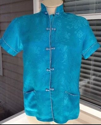 Auth Vtg Esme Wom M 100% Silk Woven Floral Design Chinese Blouse Top