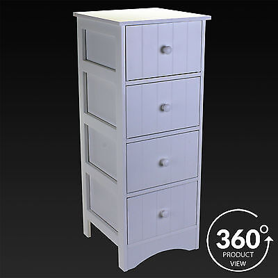 4 Drawer Cabinet Storage Unit White Wooden Bathroom Chest Cupboard Draws