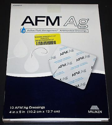 Box of 10 Milliken AFM Ag Active Fluid Management Antimicrobial Dressings 4 x 5