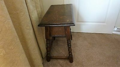 Antique oak joint stool with lifting lid