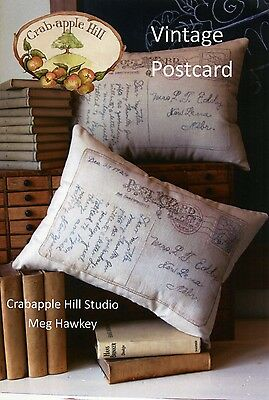 VINTAGE POSTCARD PILLOW EMBROIDERY PATTERN From Crabapple Hill Studio NEW