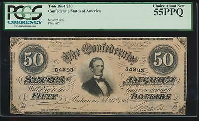 AC T-66 $50 1864 Confederate Currency CSA PCGS 55 PPQ