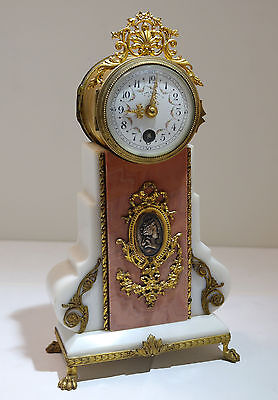 French Ormolu Bronze Rouge White Marble Enamel Clock Marc Chantre Cannes L. 19th