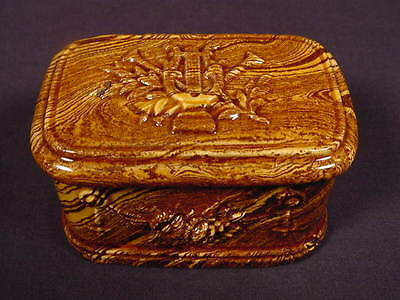 RARE 1800s SIGNED MATCH BOX AGATE MOCHA MOCHAWARE AGATEWARE YELLOW WARE