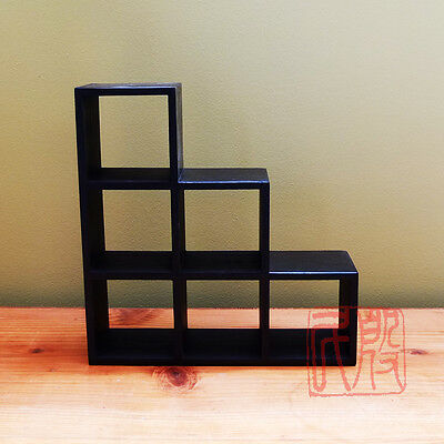 Kiri wood,Japanese style table top step chest, IT IS SMALL. (BLACK)