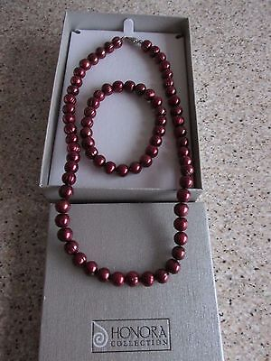 Honora(Cherry) Cultured Freshwater Pearl Necklace and Bracelet Set.Boxed.