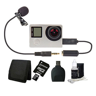 Bower Xtreme Action Series Lavaliere Microphone + 8GB Kit for GoPro HERO 4 3+ 3