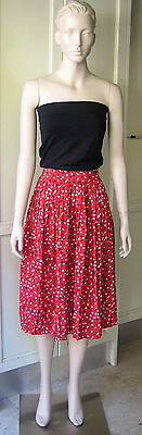 Vintage 50's Pleated Polka Dot Red Skirt Special Occasion Fancy-Dress Size-10