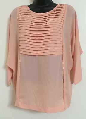 NEW Ex M&Co Size 10-24 Peach Chiffon Pleat Casual Day Formal Cotton Blouse Top