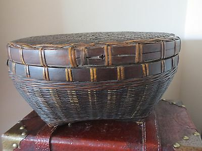 Antique Vintage Old Asian Woven Chinese Basket Lidded/ Sewing/ Wedding