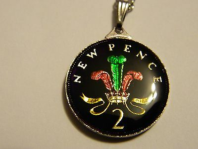 """Vintage Enamelled 1971 Two Pence Pendant & Necklace 12"""""""