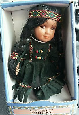 """Lmt Edition Cathay Porcelain 8"""" Native American Doll. NIB With Cert of Auth"""