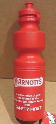 RARE ARNOTTS PLASTIC WATER BOTTLE EMPLOYEES ONLY SAFETY FIRST not a Arnott's tin