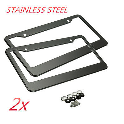 2Pcs Metal Stainless Steel License Plate Frames With Screw Caps Tag Cover New