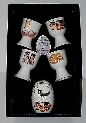 Cats kittens egg cup gift set. 4 egg cups & china egg salt and pepper gift tray