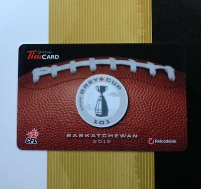 2013 TIM HORTON'S GIFT CARD SASKATCHEWAN 101st Grey Cup regina Roughriders
