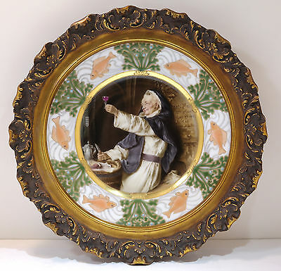 Royal Vienna Hand Painted Porcelain Plate French Priest Gilt Wood Frame C. 1900