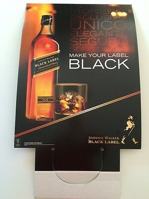 "Johnnie Walker Black Label cardboard sign 31"" Whiskey Advertising MAN LADY CAVE"