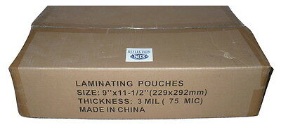 "3 mil Clear Letter 9"" x 11.5"" Thermal Laminating Sheets Pouches - Bulk 1000 pack"