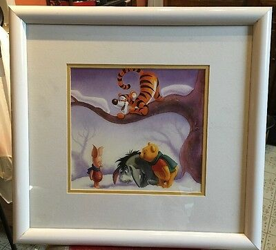 Disney WINNIE THE POOH IN WINTER Lithograph CUSTOM FRAMED Art print - childrens