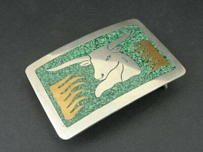 Vintage Mexico Silver Plate Turquoise Bull BELT BUCKLE