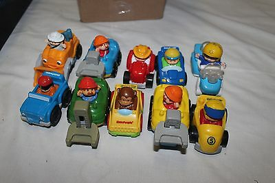 10 Fisher Price Little People wheelies: cars, tractor, forklift, jeep, race car