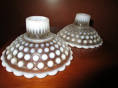 Set Of Two Fenton Hobnail Opalescent Candle Holders