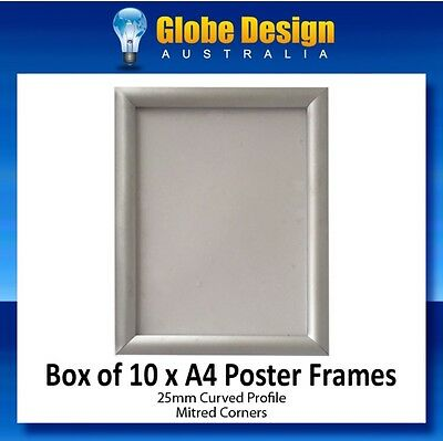 BOX of 10 x A4 Silver SNAP LOCK Poster Frame CLIP LOCK Poster Frame