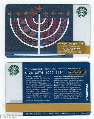 2016 Starbucks CANADA HAPPY HANUKKAH RELOADABLE GIFT CARD
