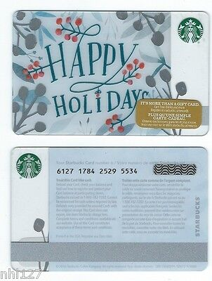 2016 Starbucks HAPPY HOLIDAYS CANADA RELOADABLE GIFT CARD