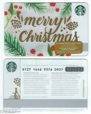 2016 Starbucks MERRY CHRISTMAS CANADA RELOADABLE GIFT CARD