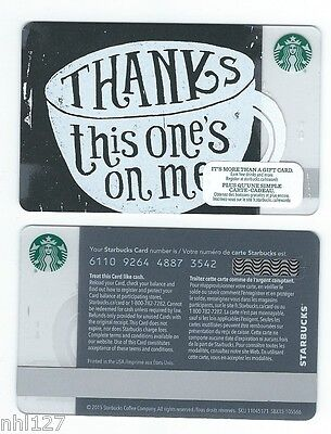 2016 Starbucks THANKS COFFEE RELOADABLE GIFT CARD