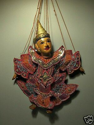 Myanmar Wood Puppet Art Doll Burmese Deity Marionettes Collectible Home Decor