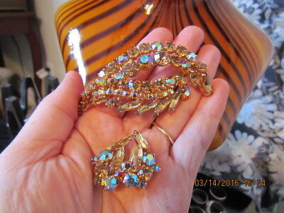 Large Vintage Unsigned Sherman Ab Aurora Brooch & Earrings Set Mint Condition