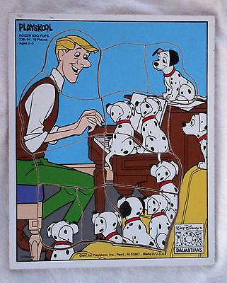 Vintage Playskool Wooden 10 Pieces 101 Dalmations Puzzle - Roger and Pups