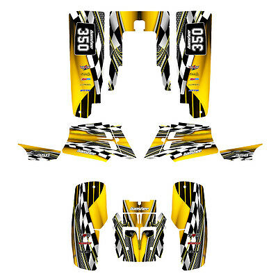 Yamaha Banshee graphics full coverage kit free custom service #2500 Yellow