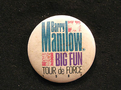 "Barry Manilow Official 1988 Vintage ""tour Button"" Badge Pin Uk Import"