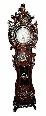 """Home Furnishing Vintage Curvy Grandfather Clock Adjustable Chime Settings 73""""H"""
