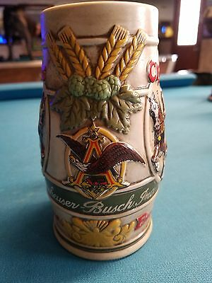 1983  Anheuser Busch  AB  Budweiser Bud Holiday Christmas Beer Stein Clydesdales