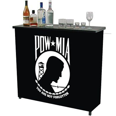Trademark Global Pow Metal 2 Shelf Portable Bar Table with Carrying Case