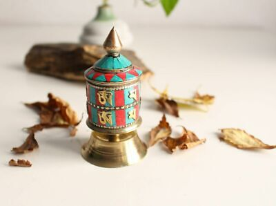 "2 Line Om Mani Mini Desktop Prayer Wheel 3.8"" Inlaid with turquoise and Coral 49"