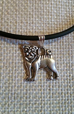 Cute *PUG* choker on Black Leather Cord..*Perfect Gift* With FREE GIFT BAG!