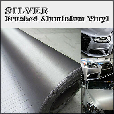 Silver Steel Brushed Aluminium Adhesive Vinyl Wrap Vehicles Dash Trim Furniture