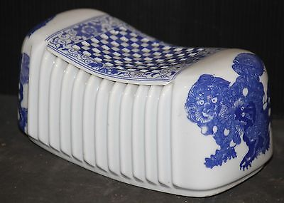 DEN smoking PILLOW porcelain ceramic BLUE & WHITE china vintage old antique