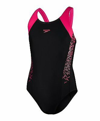 SPEEDO Girls Boom Splice Muscleback Swimming Costume Black-Pink (119665)