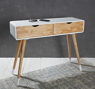 Console table white dressing table dresser sideboard retro style with 2 drawers