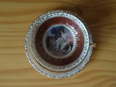 Antique Royal Vienna Porcelain Demitasse Teacup & Saucer Set by Francois Boucher