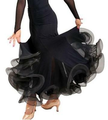 Black Latin Rumba salsa Flamenco Ballroom Dance Dress Modern tango Waltz Skirt