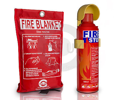 Easy to use Fire Stop Flame Retardant Extinguisher  Car Van 500ml + Fire Blanket