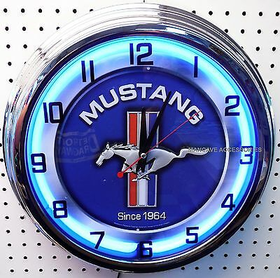 "17"" Ford MUSTANG Since 1964 Sign Neon Clock"